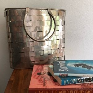 Other - Nickel plated woven metal magazine basket